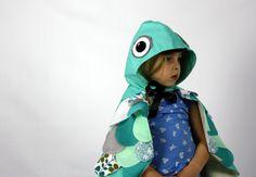 Aqua Owl Cape Childrens Costume Kids por sparrowandbcostumery