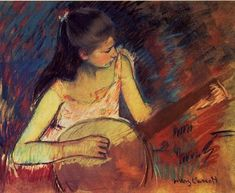 Mary Cassatt Girl with a Banjo painting for sale, this painting is available as handmade reproduction. Shop for Mary Cassatt Girl with a Banjo painting and frame at a discount of off. Edgar Degas, Mary Cassatt Art, American Impressionism, Impressionism Art, Berthe Morisot, American Artists, Figurative Art, Amazing Art, Fine Art