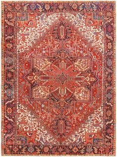 Antique Room Sized Persian Heriz Rug 48315 Thumbnail - By Nazmiyal