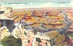 The Lookout, Grand Canyon National Park, Arizona.  Great unused 1940s Grand Canyon linen postcard in excellent condition; this card was never posted, and it doesn't have any writing on the back.   Nic