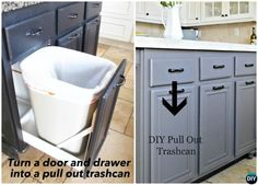DIY Door Drawer Pull Out Trash Can-Smart Ways to Hide Your Trash Can