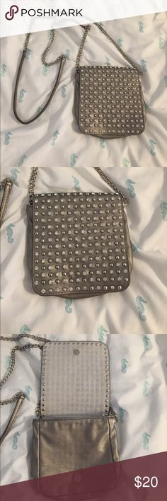 Metallic & Rhinestones Small Chain Shoulder Bag Small handbag with jewels and silver studs with chain and faux leather. Bags Crossbody Bags