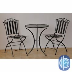 Furniture makes a lovely addition to your backyard or patioBistro set includes two chairs and one tableSturdy iron patio furniture is galvanized for extra weather protection