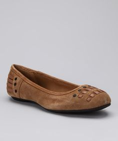 A fashion-forward stride begins with these ballet flats that boast woven details at the heels and toes. Smooth suede molds the stylish upper and man-made materials make up the durable base.