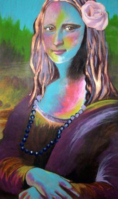 Altered Mona Lisa mixed media and acrylic painting by IlCigno, $30.00