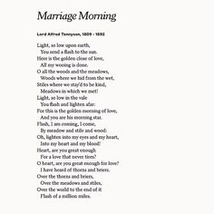 Celebrate Love With Marriage Morning By Lord Alfred Tennyson On Your Wedding Day