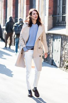 Le Fashion Blog Casual Spring Outfit Paris Fashion Week Beige Trench Coat Blue Sweater White Jeans Brown Loafers Via Sandra Semburg