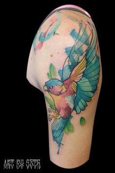 Watercolor bird tattoo by Seth Jordan Body Art Tattoos, Girl Tattoos, I Tattoo, Watercolor Bird, Watercolor Tattoo, White Girl Tattoo, Tattoo Portfolio, Gorgeous Tattoos, Inked Magazine