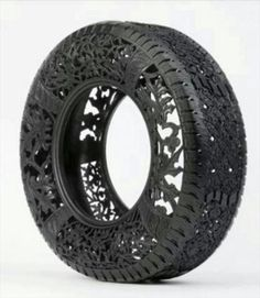 It's hard to believe that each one of these used car tires is hand-carved by Belgian artist Wim Delvoye. Great when talking about recycling. Tire Craft, Diy Recycling, Recycling Process, Atelier D Art, Tyres Recycle, Reuse Recycle, Used Tires, Art Africain, Ideias Diy