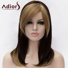 14.01$  Buy here - http://dib39.justgood.pw/go.php?t=206618601 - Adiors Double Color Medium Straight Side Bang Synthetic Wig