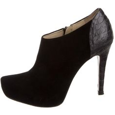 Pre-owned Alexandre Birman Booties ($175) ❤ liked on Polyvore featuring shoes, boots, ankle booties, black, black snakeskin boots, pointy toe booties, black zipper boots, black suede booties and snake skin boots