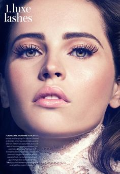 InStyle UK Model: Felicity Jones Photographer: Micaela Rossato Beauty Editorial A Winter Tale Whites Silver Metallic Lashes Shimmer Sheeny Glossy Skin Blush Mascara Pink Frosty Lips Long Lashes Bold Brows Eye Brows Shape