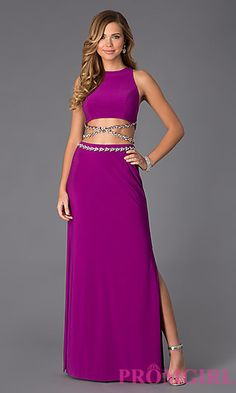 Mock Two Piece Floor Length Dress by Shimmer at PromGirl.com