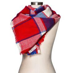 Women's Blanket Scarf Red Plaid - Merona