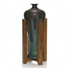 "Rare Owens Mission Vase, Oak Stand, 11 1/8"""