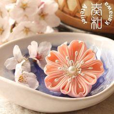 Sakura or Yae-Zakura Double-Petaled Cherry Blossom Kanzashi