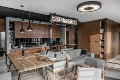 Have an exposed brick wall? Make the most of it by pairing it with wooden panelling and grey fixtures. These three inspirational interiors show you how. Loft Kitchen, Kitchen Interior, Home Interior Design, Interior Architecture, Interior Decorating, Wooden Panelling, Futuristisches Design, Sweet Home, Brick And Wood