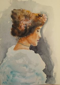 In deep thoughts (Painting) by Agnes Mclaughlin Done from vintage black and white photo