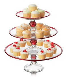 Another great find on #zulily! Selene Ruby Three-Tier Platter by Libbey #zulilyfinds