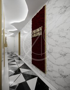 Minimal service corridor covered in marble tiles and features the Colony modern luxury fine dining restaurant logo, framed with red roses, maintaining the upscale look of the restaurant's interior, by Comelite Architecture, Structure and Interior Design. Logo Restaurant, Restaurant Design, Restaurant Ideas, Upscale Restaurants, London Restaurants, Marble Tiles, Corridor, Modern Luxury, Fine Dining