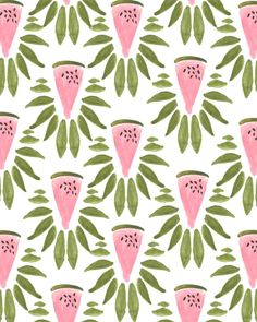 watermelon & leaves print