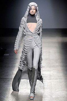 Gareth Pugh's slashed chiffon drapes beautifully.