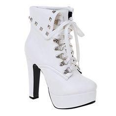 Minetom Femme Mode Boucle Pierres De Strass D/écoration Bottes Hautes Cuir PU Motard Bottines Chaussures /à Talons Hauts