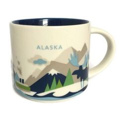 How about a cup of coffee?  Starbucks Alaska You Are Here Collection Cup Mug Moose Mountain Whale Ship Ocean #Starbucks