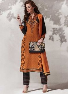 Outstanding Orange Embroidery Work Viscose Georgette Pakistani Suit http://www.angelnx.com/