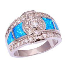 White Fire Opal Women Jewelry Fashion Gemstone Silver Ring Size 6-9 OJ5395