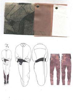 Fashion Sketchbook - fashion design drawings & fabric layout; graduate fashion portfolio // Victoria Rowe