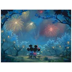 Disney Fine Art Memories Of Summer Wrapped Canvas Wall Art Multi - Proudly display your Disney fandom with the elegant aesthetic of the Disney Fine Art Memories of Summer Wrapped Canvas Wall Art. Officially licensed giclee canvas print of Mickey and Minnie watching fireworks is gallery wrapped and comes ready to hang. - living room decor Mickey Mouse Wallpaper, Cute Disney Wallpaper, Cartoon Wallpaper, Disney Collage, Disney Fine Art, Images Disney, Disney Pictures, Disney Treasures, Fireworks Show