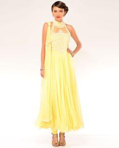 Sunglow Yellow Halter Kalidar Suit  by Preeti S. Kapoor