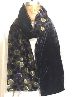 Silk Velvet Purple and Green Dots