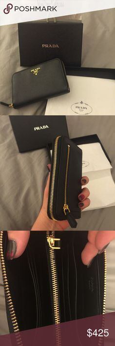 Prada wallet New without tags. Used one time. Purchased from Neiman Marcus. Prada Wallet, Prada Bag, Prada Saffiano, Fashion Tips, Fashion Design, Fashion Trends, Continental Wallet, Neiman Marcus, Leather Wallet