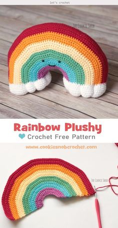 DIY a cozy cuddle cushion using Rainbow Plushy Crochet Free Pattern. You will love this huggable rainbow cushion. Sweet and soft, perfect for child's room. Crochet Cushion Pattern Free, Crotchet Patterns, Crochet Cushions, Crochet Blanket Patterns, Crochet Blocks, Afghan Patterns, Square Patterns, Blanket Crochet, Crochet Granny