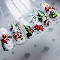 Ideas For Christmas Manicure Designs To Get Christmas Nail Art Designs, Winter Nail Designs, Winter Nail Art, Winter Nails, Christmas Manicure, Xmas Nails, Holiday Nails, New Years Nail Designs, Crazy Nail Designs