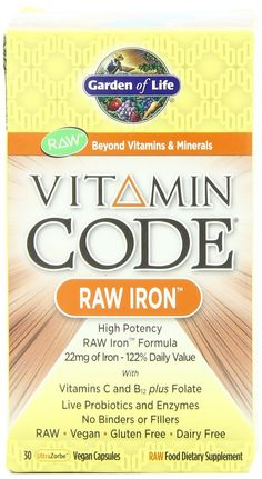 Garden of Life Vitamin Code, Raw Iron, 30 Capsules Garden Of Life Vitamins, Live Probiotics, Vegan Vitamins, Supplements For Women, Prenatal Vitamins, Natural Medicine, Vitamins And Minerals, Raw Food Recipes, Herbalism