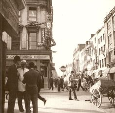 "The corner of Old Compton Street and Dean Street in the mid 1950s. By the late 70s, there were more than 50 drab ""sex shops"" within a (hefty) stone's throw of this corner."