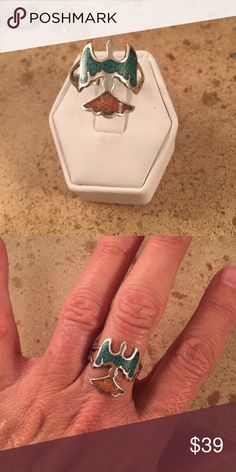 Vintage Chip Inlay Sterling Thunderbird ring 8.5 This vintage Thunderbird ring is made of Coral & Turquoise and set in Sterling Silver. The size of this ring is a 9. The face of this ring is 3/4 of an inch wide and long. It has been tested and is Sterling silver. Made in the late 80's. Jewelry Rings