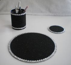 Black & Bling Computer Desk Set by LaurieBCreations on Etsy, $22.00