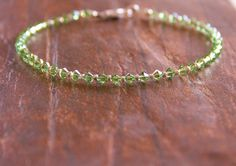 Anklet Beaded Anklet Peridot Anklet Peridot Beaded Anklet August Birthstone Womens Jewelry Bridal Party Gifts Wedding Party Gifts Womens by BellaGemzDesigns on Etsy
