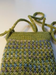 Shades Sunglasses Case by Anni Howard. malabrigo Sock in Indiecita and Lettuce colorway. Published in Knit Now, Issue 37, July 2014