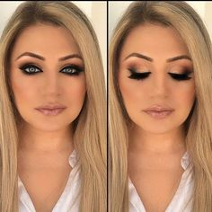 25 Ideas wedding makeup for blondes blue eyes gold for 2019 - Prom Makeup Looks Wedding Makeup For Blue Eyes, Blue Eye Makeup, Smokey Eye Makeup, Wedding Hair And Makeup, Hair Wedding, Blue Wedding, Makeup For Blue Dress, Smokey Hair, Glitter Makeup