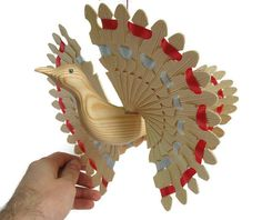Wooden Mobile, Hanging Woodworking Art, 5th Anniversary Wood Carving Décor With Woven Ribbon, Hand Carved Fan Bird Christmas Gift Idea, OOAK