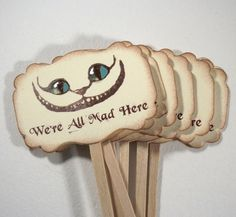 Were All Mad Here, Alice in Wonderland, Cheshire Cat, Cupcake Toppers, Stickers, Tags, Baby Shower, Birthday Party, Bridal Shower Halloween  ★
