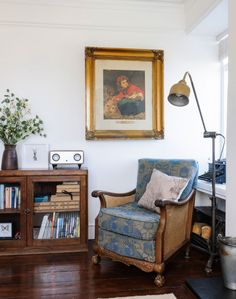 The traditional living room was given a period feel with vintage furniture and accessories gathered by the owners.