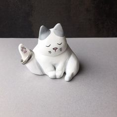 """Sweetest lil""""Kitty Ring Holder for the cat lovers! Hand sculpted in polymer clay and painted in acrylic, this cutie will sure bring on the smiles as a decor & ring holder all in one.( $40)  #ringholder  #giftideas   #homedecor"""