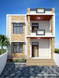 Small Duplex House Plans Luxury House Plan with Elevation Option C by Nikshail – modern courtyard house plans 2 Storey House Design, Duplex House Plans, Bungalow House Design, House Front Design, Small House Design, Modern House Design, House Design Pictures, Modern House Facades, Independent House