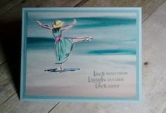 Sharons Inkie Fingers: Beautiful You meets Serene Scenery Hand Made Greeting Cards, Greeting Cards Handmade, Beach Cards, Happy Birthday, Stamping Up Cards, Handmade Birthday Cards, Tampons, Watercolor Cards, Watercolor Dress
